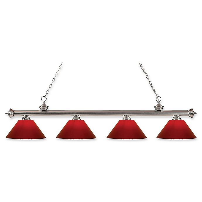 Alternate image 1 for Filament Design Reese 4-Light Pendant in Brushed Nickel with Red Plastic Shades