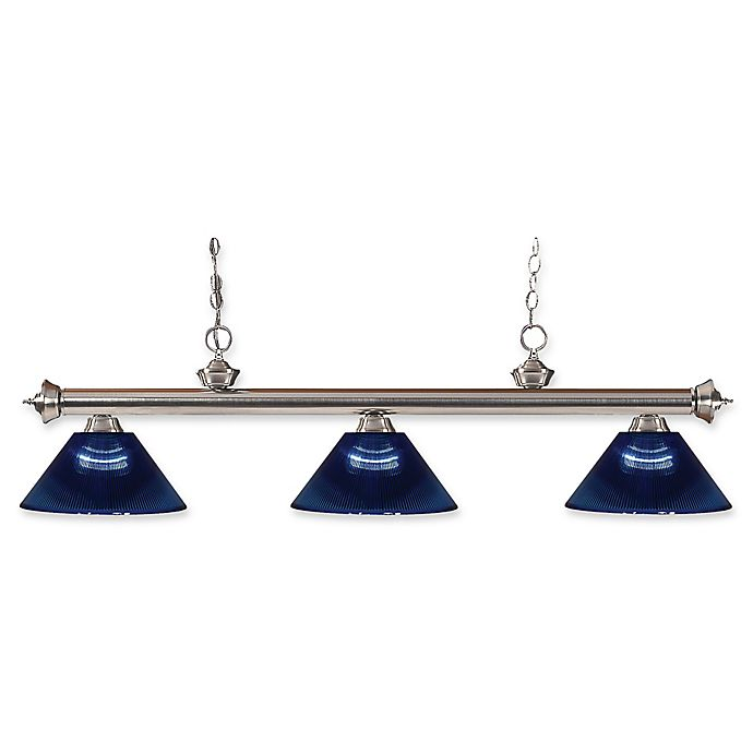 Alternate image 1 for Filament Design Reese 3-Light Pendant in Brushed Nickel with Dark Blue Acrylic Shades