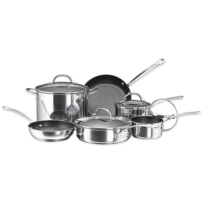 Alternate image 1 for Farberware® Millennium Nonstick Coated Stainless Steel 10-Piece Cookware Set