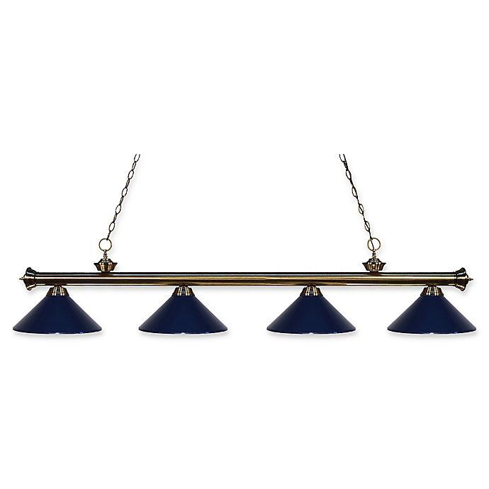 Alternate image 1 for Filament Design Reese 4-Light Island Light in Antique Brass with Navy Blue Metal Shades