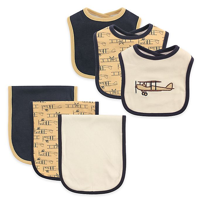 Alternate image 1 for Hudson Baby® 6-Piece Airplane Bib and Burp Cloth Set in Tan