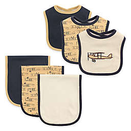 Hudson Baby® 6-Piece Airplane Bib and Burp Cloth Set in Tan