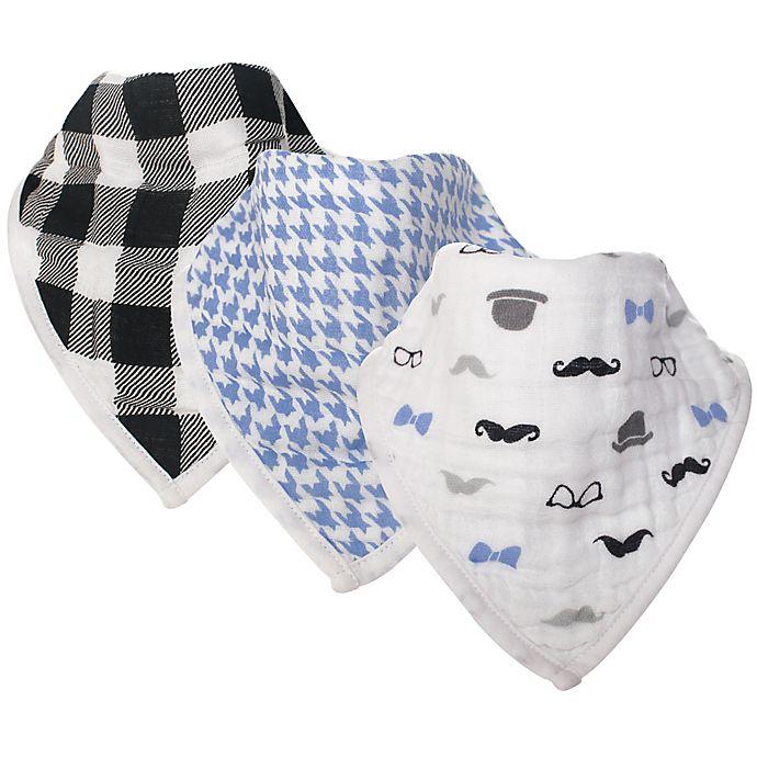 Alternate image 1 for Hudson Baby® 3-Pack Gentleman Muslin Bandana Bibs