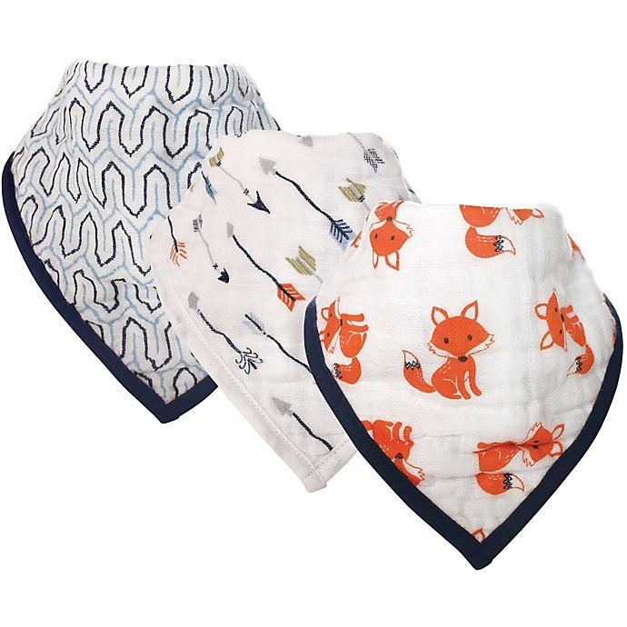 Alternate image 1 for Hudson Baby® 3-Pack Foxes Muslin Bandana Bibs