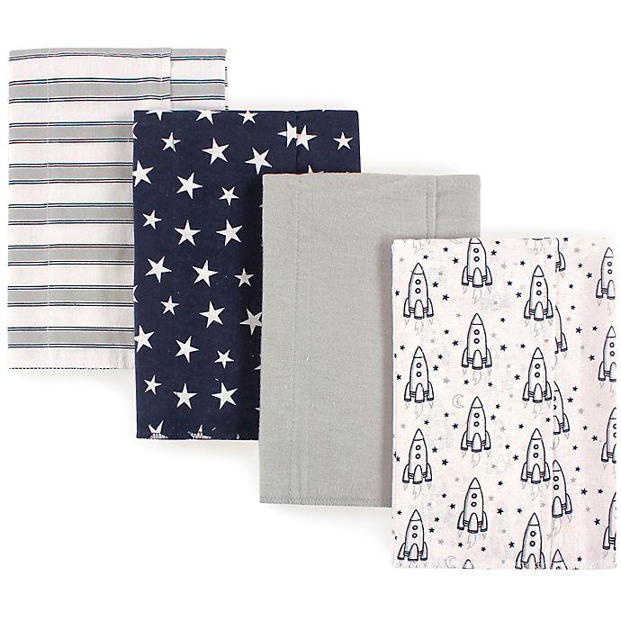 Alternate image 1 for Luvable Friends® 4-Pack Rocket Flannel Burp Cloths