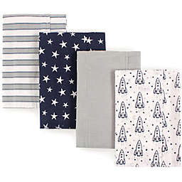 Luvable Friends® 4-Pack Rocket Flannel Burp Cloths