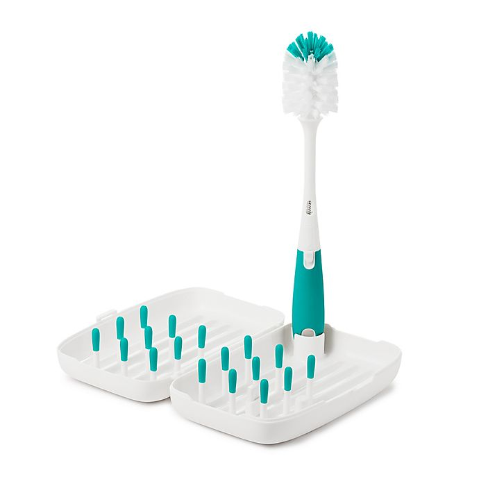 Alternate image 1 for OXO Tot® On-The-Go Drying Rack with Bottle Brush in Teal