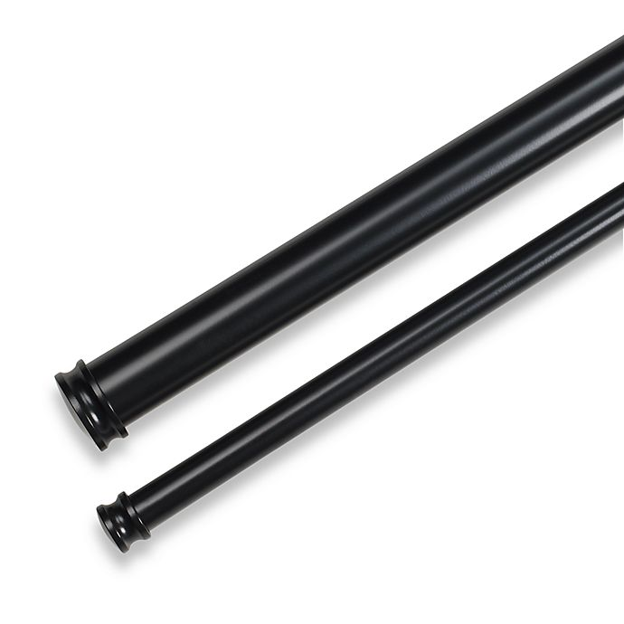 Alternate image 1 for Cambria® Premier Complete Adjustable Double Curtain Rod in Satin Black
