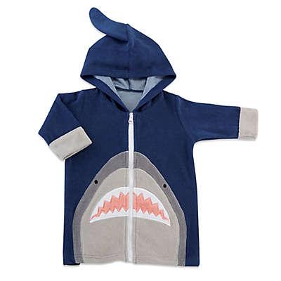 Baby Aspen Size 0-9M Shark Hooded Beach Coverup in Navy