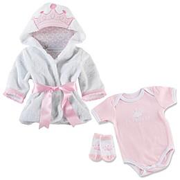 Baby Aspen Size 0-9M 3-Piece Princess Bundle Bathrobe, Bodysuit and Sock Set