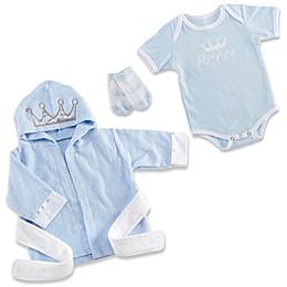 Baby Aspen Size 0-9M 3-Piece Prince Bundle Bathrobe, Bodysuit and Sock Set in Blue