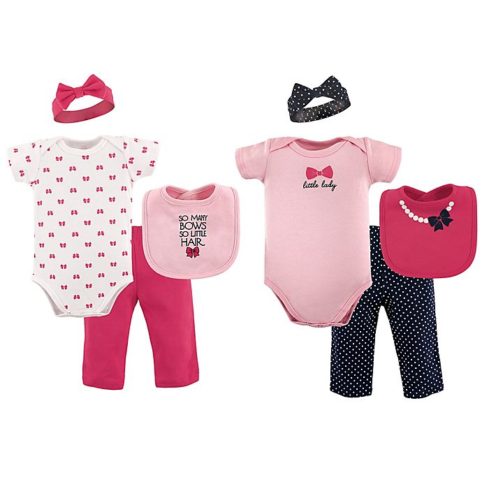 Alternate image 1 for Hudson Baby® Size 0-6M 8-Piece Grow with Me Clothing Set in Pink/Black