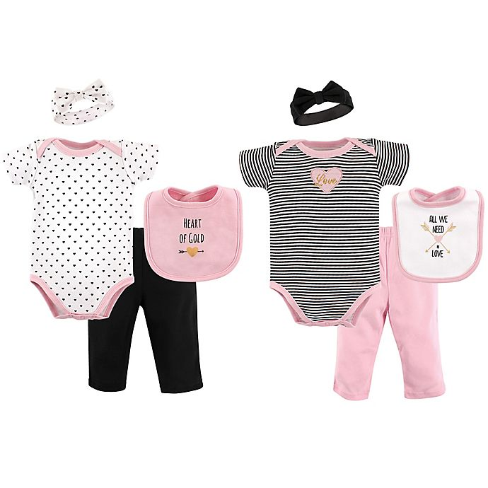 Alternate image 1 for Hudson Baby® Size 0-6M 8-Piece Grow with Me Clothing Set in Grey/Pink