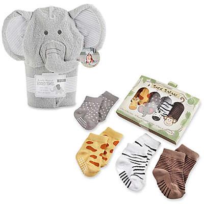Baby Aspen Safari Hooded Towel and Sock Set