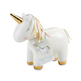 Baby Aspen Ceramic Unicorn Bank in Gold/White