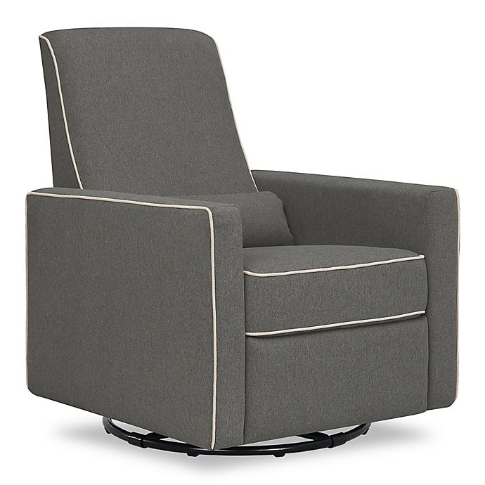 Alternate image 1 for DaVinci Piper All-Purpose Upholstered Glider Recliner in Dark Grey with Cream Piping