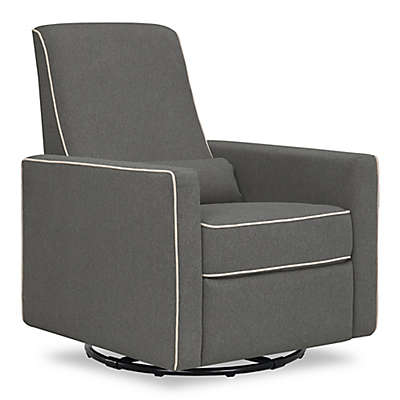 DaVinci Piper All-Purpose Upholstered Glider Recliner in Dark Grey with Cream Piping