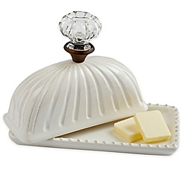 Mud Pie® 2-Piece Door Knob Butter Dish and Lid Set in White
