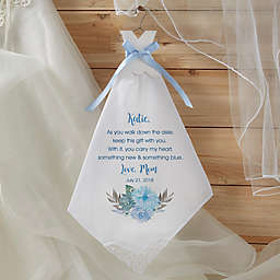 Bride's New & Blue Wedding Handkerchief in White