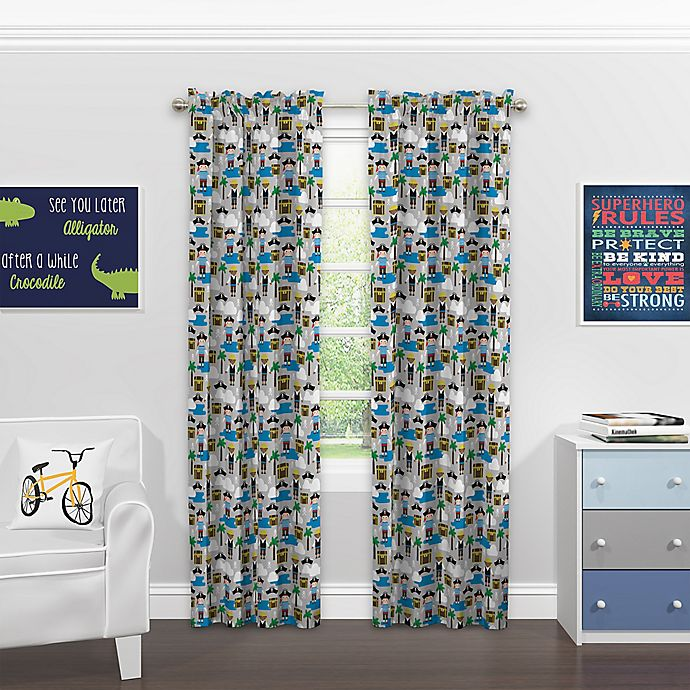 Alternate image 1 for SolarShield® Kids Pirate Party 63-Inch Rod Pocket Blackout Window Curtain Panel in Grey