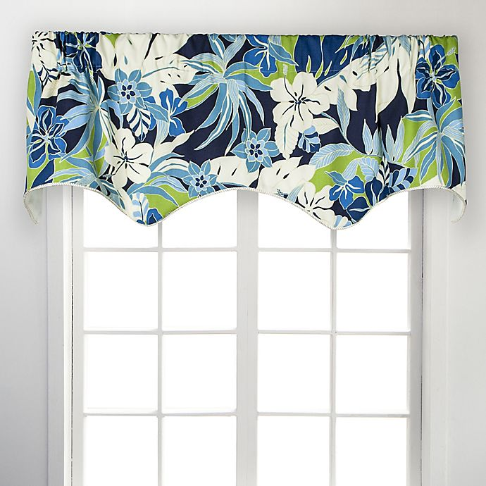 Alternate image 1 for Tropical Garden Scallop 50-Inch Rod Pocket Window Valance in Blue