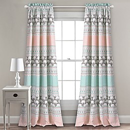 Elephant Stripe 2-Pack Rod Pocket Room Darkening Window Curtain Panels in Turquoise