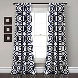 Octagon Blocks 84-Inch Rod Pocket Window Curtain Panels in Navy (Set of 2)