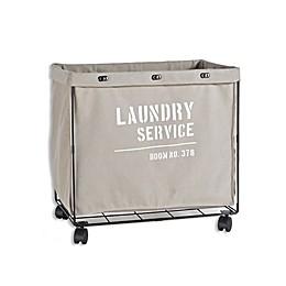 Danya B. Army Canvas Laundry Hamper on Wheels in Grey