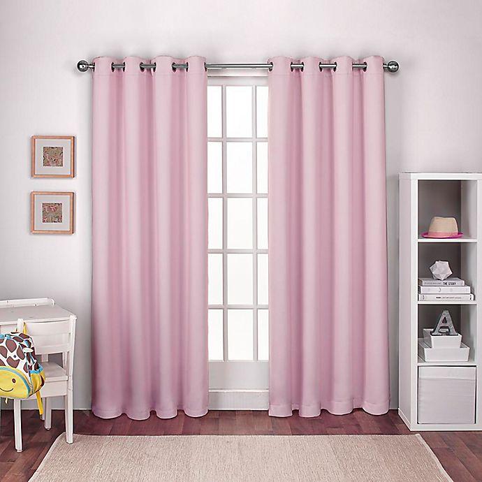 Alternate image 1 for Textured Woven 108-Inch Grommet Top Room Darkening Window Curtain Panel Pair in Pink