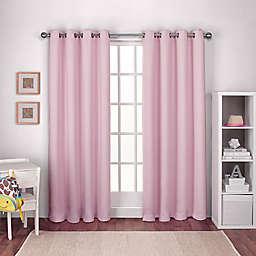 Textured Woven 2-Pack 108-Inch Grommet Top Room Darkening Window Curtain Panels in Pink
