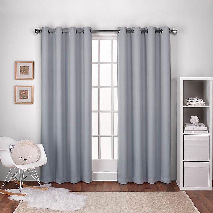 Alternate image 1 for Textured Woven 108-Inch Grommet Top Room Darkening Window Curtain Panel Pair in Light Grey