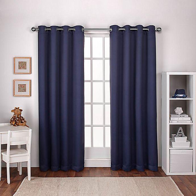 Alternate image 1 for Textured Woven 108-Inch Grommet Top Room Darkening Window Curtain Panel Pair in Navy