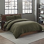 Garment Washed Solid Full/Queen Duvet Cover Set in Army Green