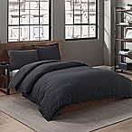 Garment Washed Solid Full/Queen Duvet Cover Set in Onyx
