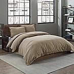 Garment Washed Solid King Duvet Cover Set in Taupe