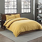 Garment Washed Solid Full/Queen Duvet Cover Set in Gold