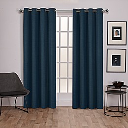 Raw Silk 2-Pack Grommet Top Room Darkening Window Curtain Panels