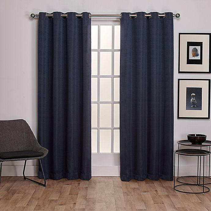 Alternate image 1 for Exclusive Home Virenze 108-Inch Grommet Window Curtain Panel Pair in Blue