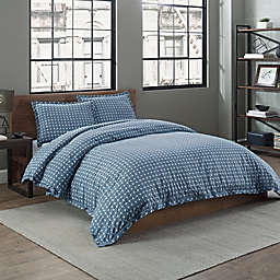 Garment Washed Printed 2-Piece Twin/TwinXL Duvet Cover Set in Peacock Basketweave