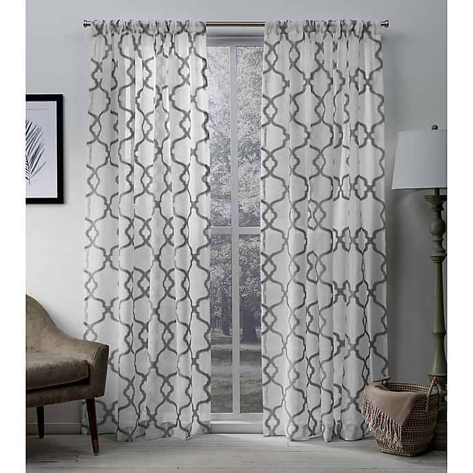 Alternate image 1 for Muse 84-Inch Rod Pocket Window Curtain Panel Pair in Silver