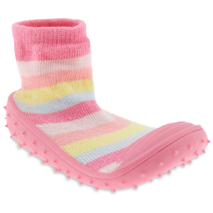 Alternate image 1 for Capelli New York Size 6M Pastel Stripe Slipper Socks