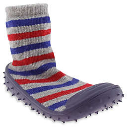 Capelli New York Stripe Slipper Socks in Blue/Grey/Red