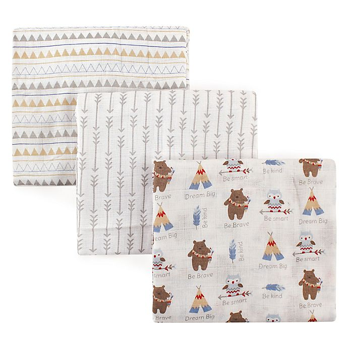 Alternate image 1 for Luvable Friends® 3-Pack Muslin Swaddle Blankets in White Tribal