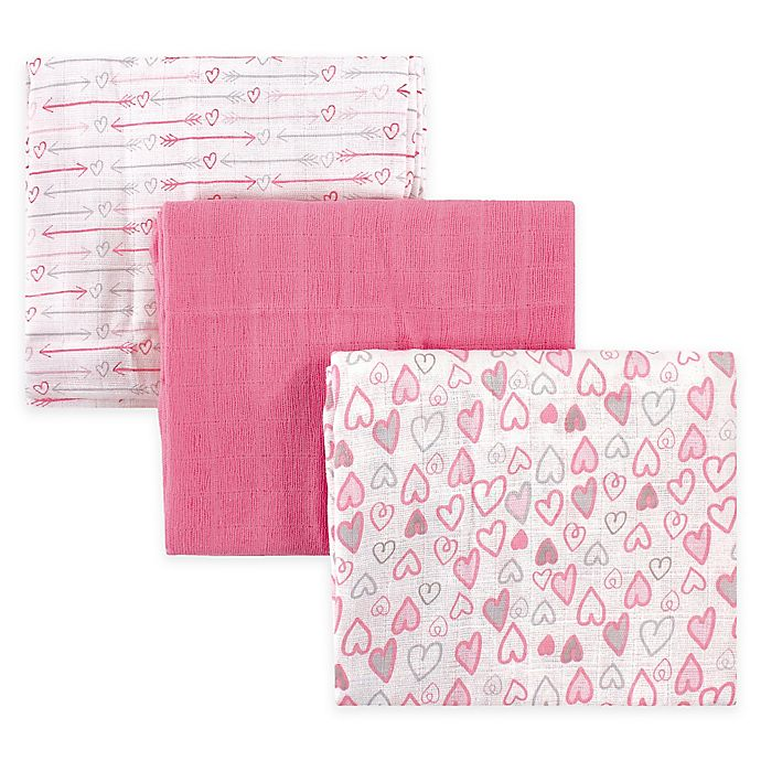 Alternate image 1 for Luvable Friends® 3-Pack Muslin Swaddle Blankets in Pink Love
