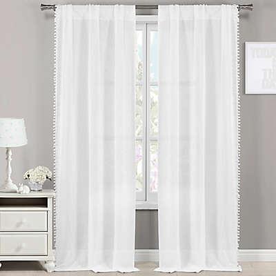 LaLa + Bash Addyson Pompom Pole Top Window Curtain Panel Pair