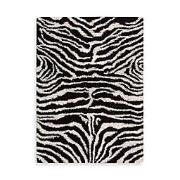 Nourison Splendor Black and White Zebra Rug