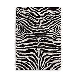 Nourison Splendor Black and White Zebra Rug