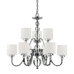 Quoizel® Downtown 9-Light Two Tier Ceiling-Mount Chandelier in Chrome with Linen Shades