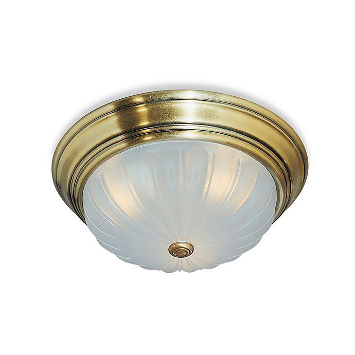 Alternate image 1 for Quoizel Melon 2-Light Flush-Mount Ceiling Light in Antique Brass