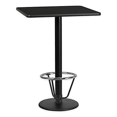 Flash Furniture 30-Inch Square Laminate Table with Round Base in Black